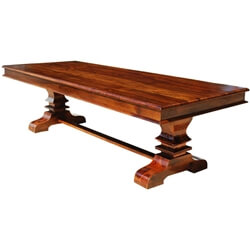Solid Wood Trestle Pedestal Large Rectangle Rustic Dining Table