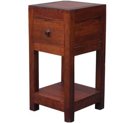 Square 2-Tier Solid Wood Nightstand End Table w Drawer