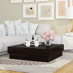 Contemporary 33 Square Indian Rosewood Low Platform Coffee Table