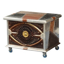 metallic-patches-mango-wood-modern-rolling-coffee-table-chest