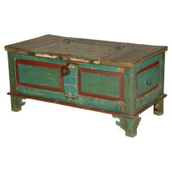 Bon Blue Red Farmhouse Distressed Reclaimed Wood Coffee Table