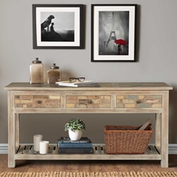 frosted-brick-wall-reclaimed-wood-hall-console-table