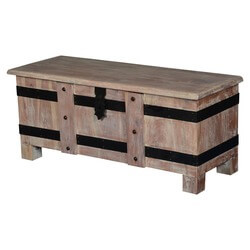 Solid Rustic Reclaimed Wood Storage Trunk Coffee Table