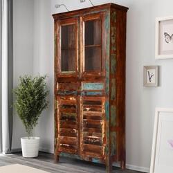 Bernice Rustic Reclaimed Wood Glass Door Freestanding Display