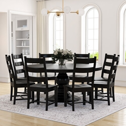 Round Wood Kitchen Table Sets Rustic dining table and chair sets sierra living concepts nottingham rustic solid wood black round dining room workwithnaturefo