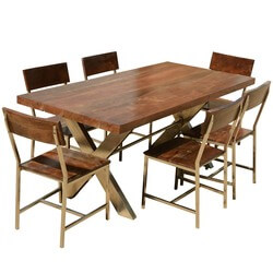Solid Wood U0026 Iron Double X Pedestal 72u201d Rustic Dining Table Chair Set