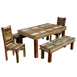 Sierra Reclaimed Wood Furniture Dining Table With 2 Chairs U0026 2 Benches