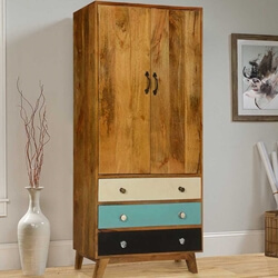 60's Mod Mango Wood Standing 3 Drawer Armoire