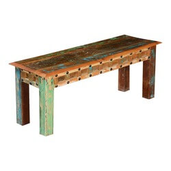 Gothic Rustic Rainbow Reclaimed Wood Dining Bench