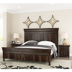 modern rustic solid wood bed frame w headboard footboard - Wood Bed Frame