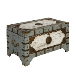 Golden Medallion Mango Wood Storage Trunk Chest