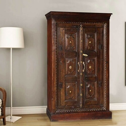 Surfside Handcrafted Metal Accent Mango Wood Armoire