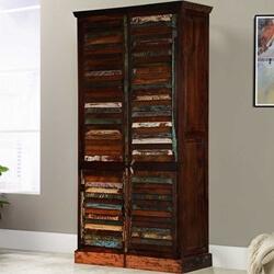 Adeline Rustic Reclaimed Wood Four Door Shutter Storage Cabinet