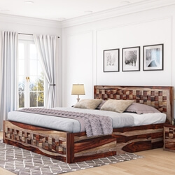 checkered-solid-wood-captains-platform-bed-with-nightstands