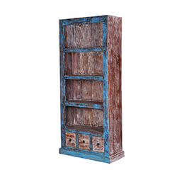 Aurora 71 Distressed Solid Wood Three Shelf Rustic