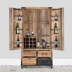 Savannah Handcrafted Solid Wood 2 Door Industrial Wine