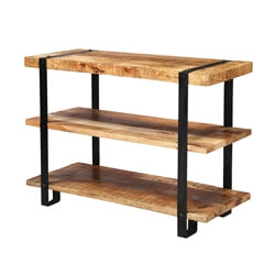 Industrial Rustic Mango Wood 3-Tier Open Back Bookcase