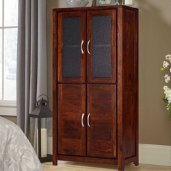 Handcrafted Rustic Solid Wood 69 Display Wardrobe Cabinet