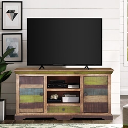 "Modern 59"" Rustic Mango Wood Sideboard Freestanding TV Media Cabinet"
