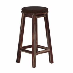 Classic Rustic Solid Wood & Leather Upholstered Round Bar Stool