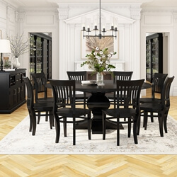 Beautiful Sierra Nevada Solid Wood Pedestal 13 Piece Round Dining Room Set