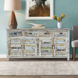 Tucson Rainbow Rustic Reclaimed Wood 4 Drawer Large Sideboard Cabinet