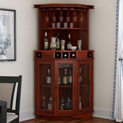 Griffin Gl Door Solid Rosewood Corner Wine Bar
