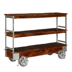 Rochester Industrial Mango Wood 3 Tier Rolling Console Hall Table