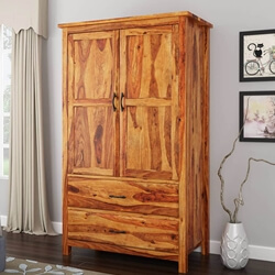 Healdsburg Rustic Solid Wood Wardrobe Armoire With Drawers and Shelves