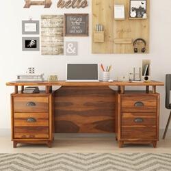 Hondah Rustic Solid Wood 4 Drawer Executive Desk