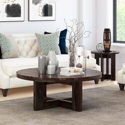 Perfect Amargosa Contemporary Rustic Solid Wood Round Coffee Table