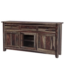 Rustic Glass Door Buffet 3 Drawer Storage Sideboard Cabinet