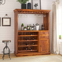 Houston Handcrafted Solid Wood Wine Bar Cabinet with Glass Stem Rack