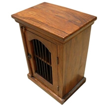 Iron Solid Wood Bed Side End Storage Table Cabinet