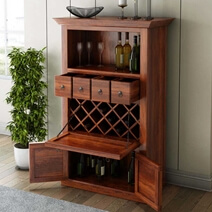 Alabama Spacious Handcrafted Solid Rosewood Wine Bar Cabinet