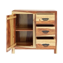 Mediterranean Solid Wood Rustic Storage Buffet Cabinet with 3 Drawers