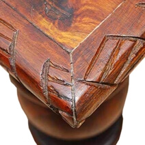 Large Mango Wood Carved Edge Cocktail Coffee Table