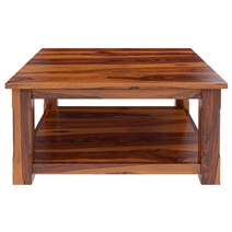 Sierra Nevada 2-Tier Large Rustic Square Coffee Table