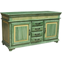 Oklahoma Farmhouse Distressed Hand Painted Sideboard Buffet Credenza