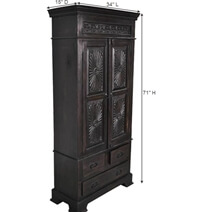 Lincoln Study Traditional Hardwood Armoire Cabinet w Drawers