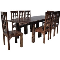 Portland 9pc Indian Rosewood Dining Room Table & Chair Set w Extension
