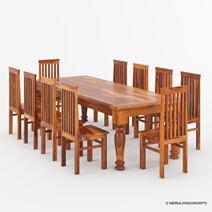 Clermont Rustic Furniture Solid Wood Large Dining Table & Chair Set