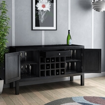 Kansas City Solid Wood Floor Wine Bar Cabinet