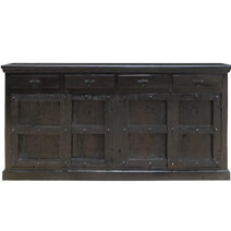 Kansas City Solid Wood 4 Drawer Black Sideboard