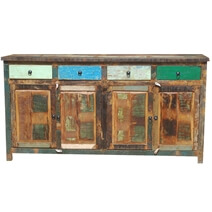 Appalachian Rustic Multi-Color Old Wood 73 Buffet Cabinet
