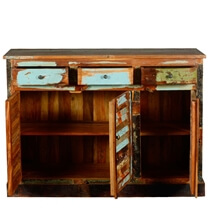 Reclaimed Wood Furniture Buffet Cabinet 3 Drawer 3 Door Sideboard