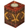 Curry & Cayenne Mango Wood Cube Hand Painted Votive Holder
