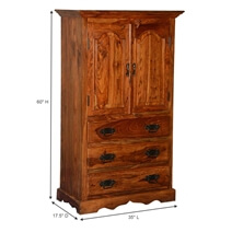 Pomeroy Solid Wood 3 Wide Drawer Rustic Armoire