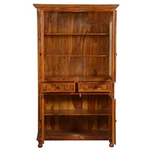 Dutch Colonial Indian Rosewood Breakfront Display Cabinet