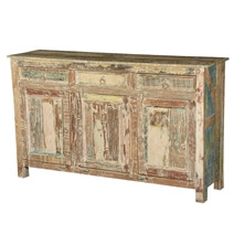 Frontier Rustic Reclaimed Wood Distressed Sideboard Cabinet